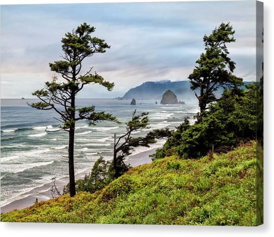 Haystack Rock Canvas Print - Usa, Oregon, Cannon Beach, View by Ann Collins