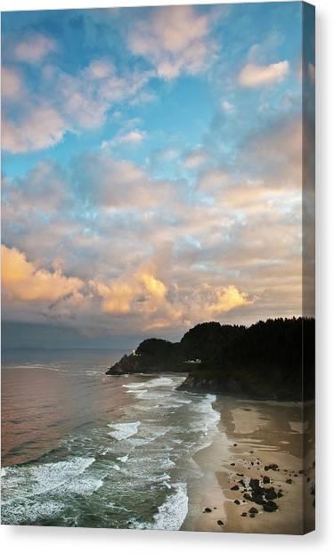 Beach Cliffs Canvas Print - Usa, Oregon Heceta Head Lighthouse by Jaynes Gallery
