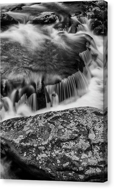 Horseshoe Falls Canvas Print - Usa, Tennessee Black And White Image by Judith Zimmerman
