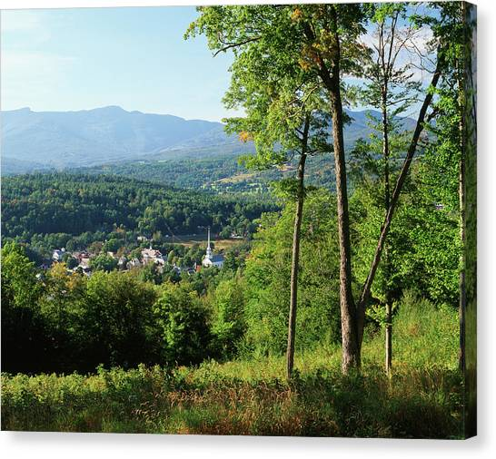 House Of Worship Canvas Print - Usa, Vermont, Stowe, View Of Town by Walter Bibikow