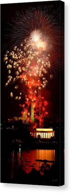 Capitol Building Canvas Print - Usa, Washington Dc, Fireworks by Panoramic Images
