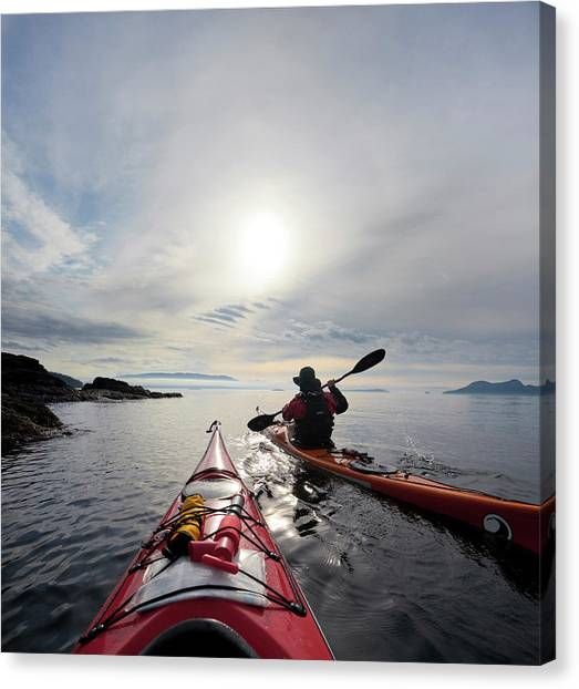 Kayaks Canvas Print - Usa, Washington State, San Juan Islands by Gary Luhm