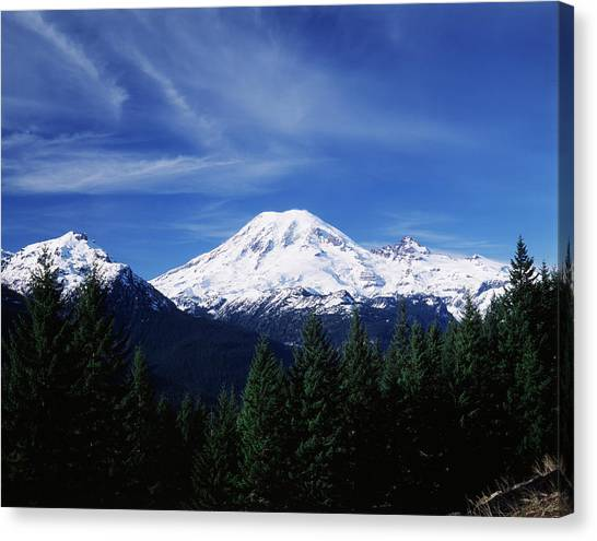 Usa, Washington State, View Of Mount Canvas Print by Paul Souders