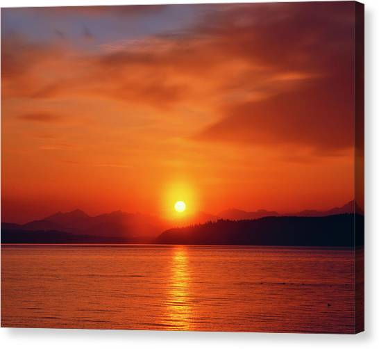 Cloud Forests Canvas Print - Usa, Washington Sunset Over The Olympic by Jaynes Gallery