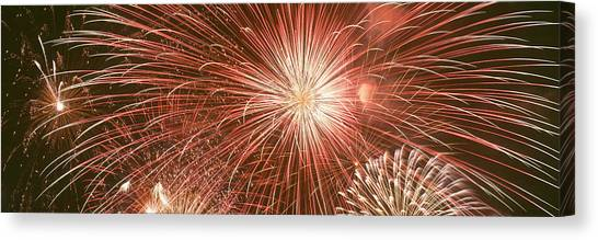 Pyrotechnic Canvas Print - Usa, Wyoming, Jackson, Fireworks by Panoramic Images