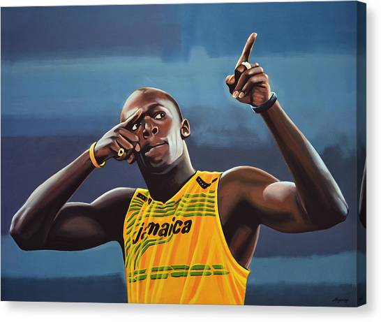 Goal Canvas Print - Usain Bolt Painting by Paul Meijering