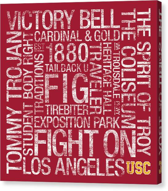 Colleges And Universities Canvas Print - Usc College Colors Subway Art by Replay Photos