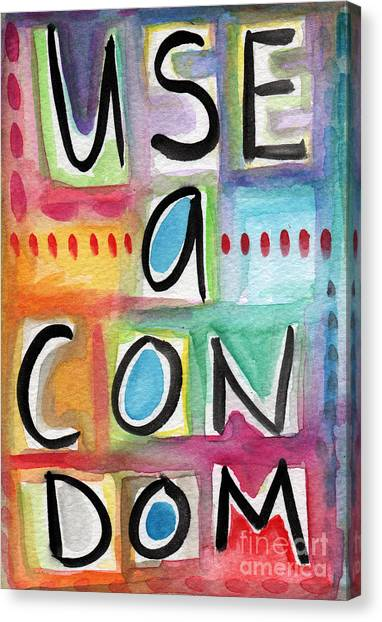 Humorous Canvas Print - Use A Condom by Linda Woods