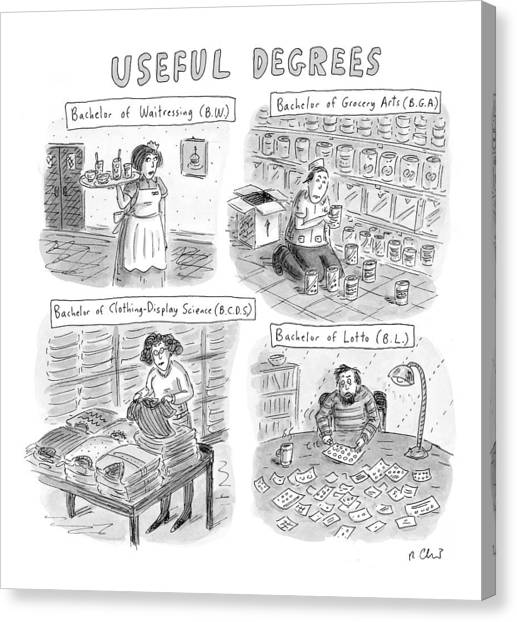 Bachelors Degree Canvas Print - Useful Degrees: Bachelor Of Waitressing by Roz Chast