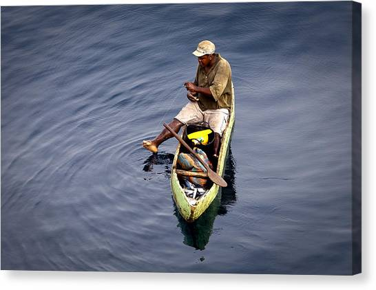 Using A Toe As A Fishing Pole. Canvas Print