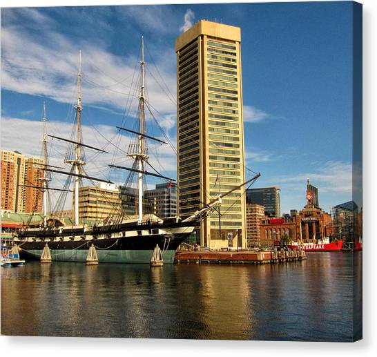 U.s.s. Constellation In Baltimore's Inner Harbor Canvas Print