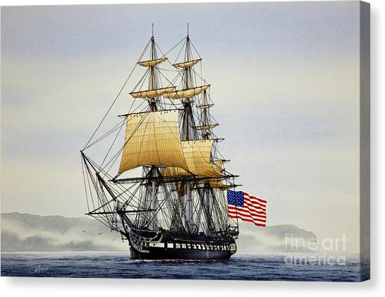 Boston Canvas Print - Uss Constitution by James Williamson