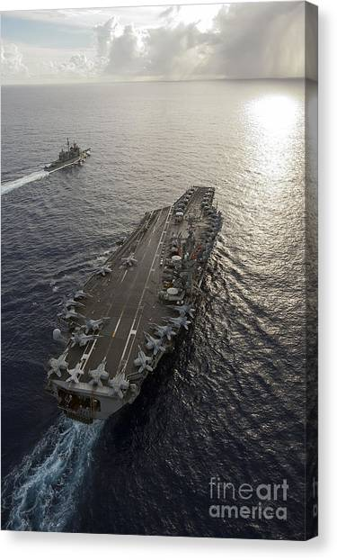 Canvas Print featuring the photograph Uss George Washington And Uss Mobile by Stocktrek Images
