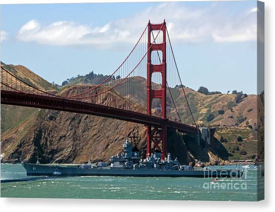 Canvas Print featuring the photograph U.s.s. Iowa Up Close by Kate Brown