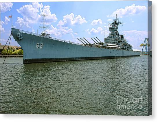 Navy Canvas Print - Uss New Jersey by Olivier Le Queinec