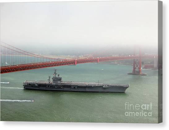 Uss Nimitz Cvn-68 Golden Gate Bridge Canvas Print