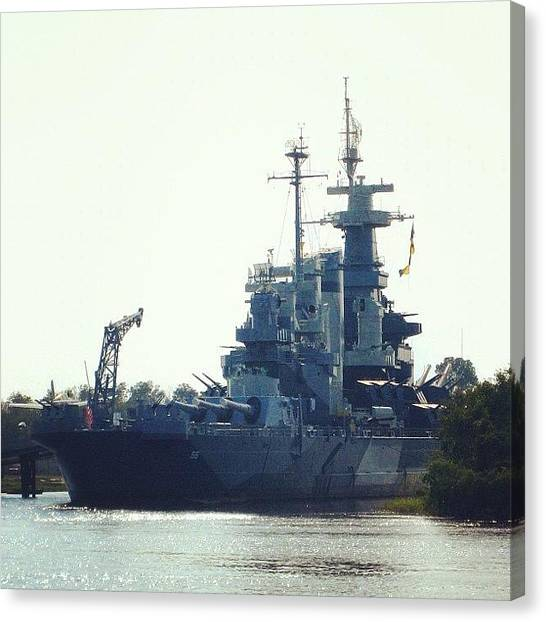 Battleship Canvas Print - Uss North Carolina On The Cape Fear by Eunice De Moraes
