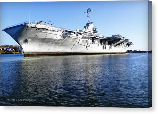 Uss Yorktown Aircraft Carrier Canvas Print by Maurice Smith
