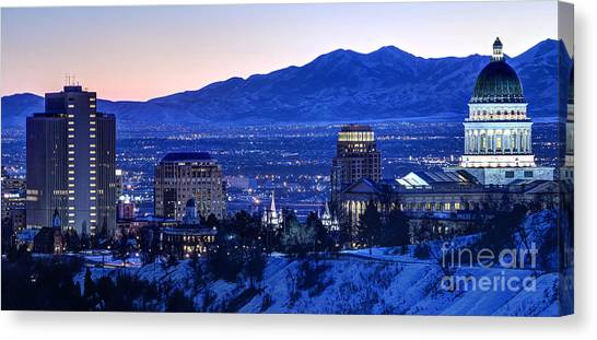 City Sunsets Canvas Print - Utah Capitol And Oquirrh Mountains Winter Sunset by Gary Whitton