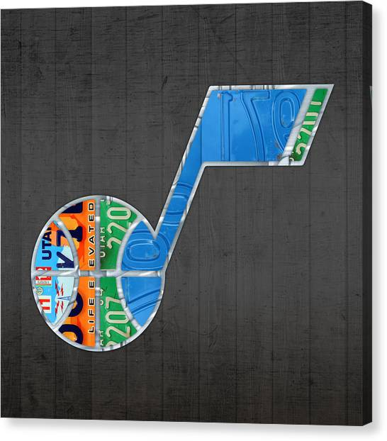 Utah Jazz Canvas Print - Utah Jazz Basketball Team Retro Logo Vintage Recycled License Plate Art by Design Turnpike