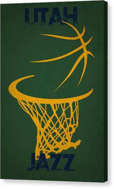 Utah Jazz Canvas Print - Utah Jazz Hoop by Joe Hamilton