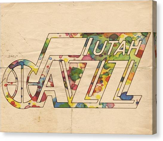 Utah Jazz Canvas Print - Utah Jazz Retro Poster by Florian Rodarte