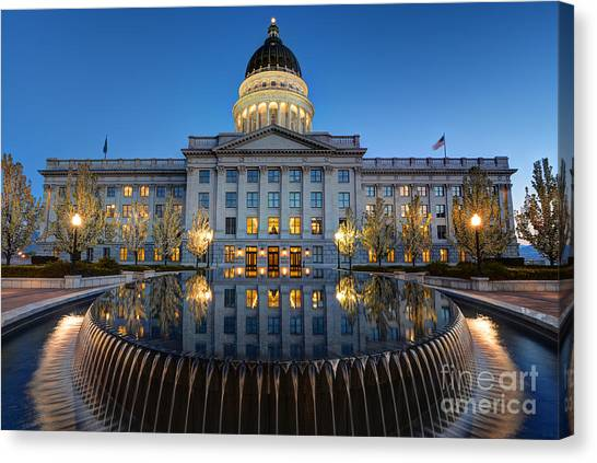 Utah State Capitol In Reflecting Fountain At Dusk Canvas Print