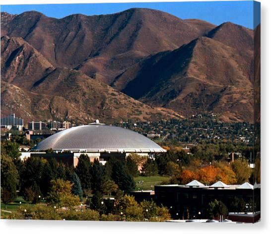 Pac 12 Canvas Print - Utah Utes Jon M. Huntsman Center by Replay Photos
