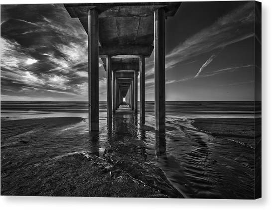 Scripps Pier Canvas Print - Uttered Madness by Peter Tellone