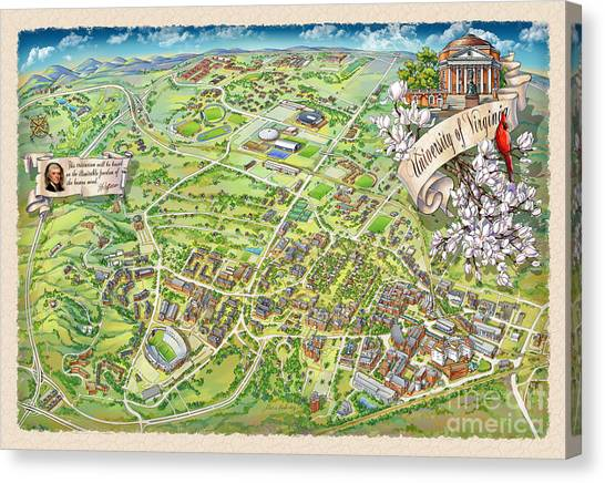 University Of Virginia Canvas Print - Uva Grounds Illustration 2014 by Maria Rabinky