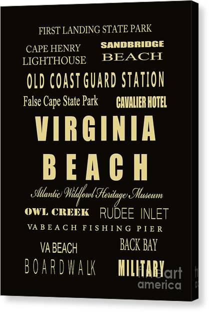 Virginia Commonwealth University Vcu Canvas Print - Va Beach Subway Bus Tram Scoll Typography by  Dave Lynch