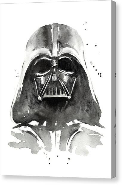 Halloween Canvas Print - Darth Vader Watercolor by Olga Shvartsur