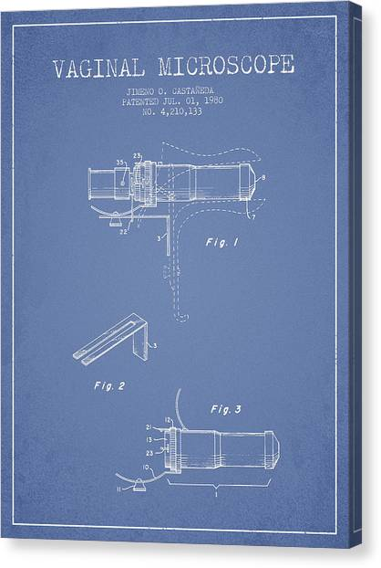 Vaginal Microscope Patent From 1980 - Light Blue Canvas Print by Aged Pixel
