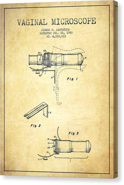 Vaginal Microscope Patent From 1980 - Vintage Canvas Print by Aged Pixel