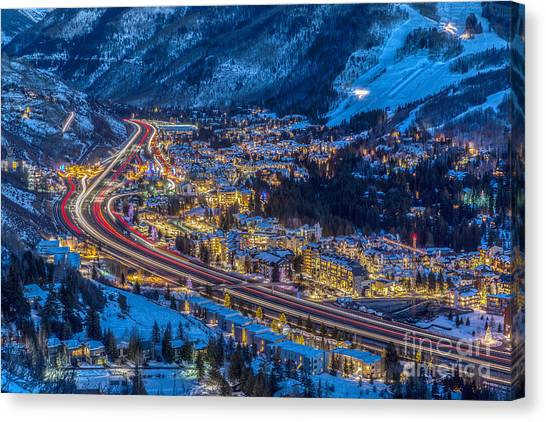Vails Night Traffic Canvas Print