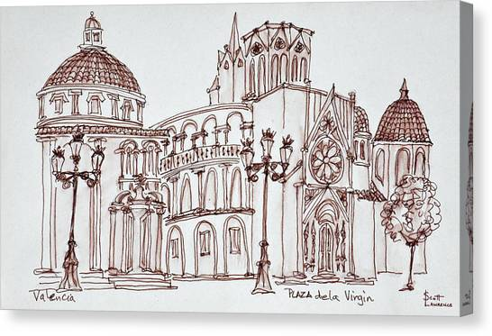 Scotty Canvas Print - Valencia Cathedral In Plaza De La by Richard Lawrence
