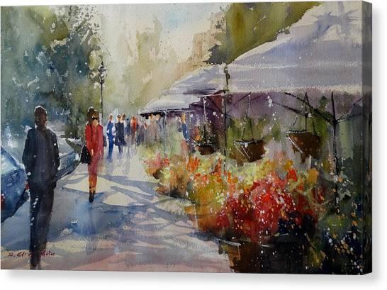 Valencia Flower Market Canvas Print