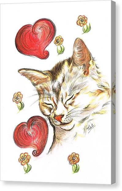 Valentine Cat Canvas Print