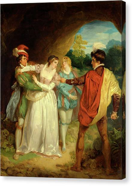 Mountain Caves Canvas Print - Valentine Rescuing Silvia From Proteus, From Shakespeares by Litz Collection