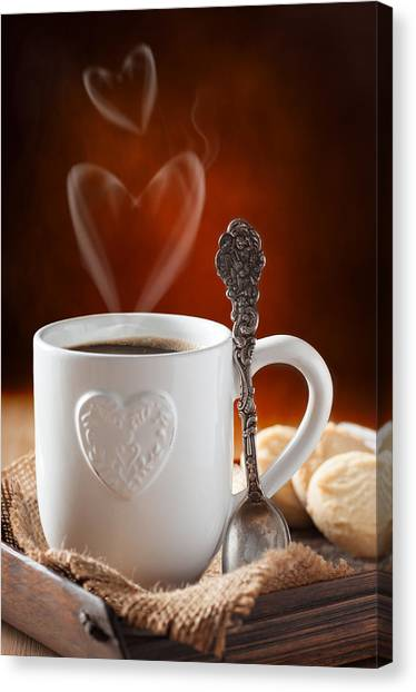 Biscuits Canvas Print - Valentine's Day Coffee by Amanda Elwell