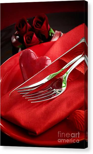 Valentine's Day Dinner Canvas Print by Mythja  Photography
