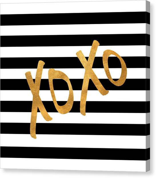 Gold Canvas Print - Valentines Stripes IIi by South Social Studio