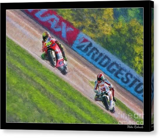 Valentino Rossi Leads Marco Simoncelli Canvas Print