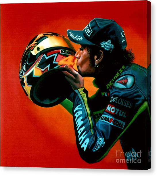 Yamaha Canvas Print - Valentino Rossi Portrait by Paul Meijering