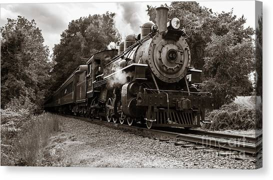 Vintage Railroad Canvas Print - Valley Railroad Steam Train by Edward Fielding