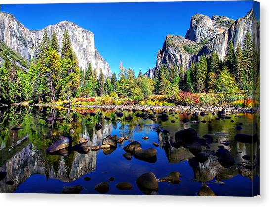 Yosemite Falls Canvas Print - Valley View Reflection Yosemite National Park by Scott McGuire