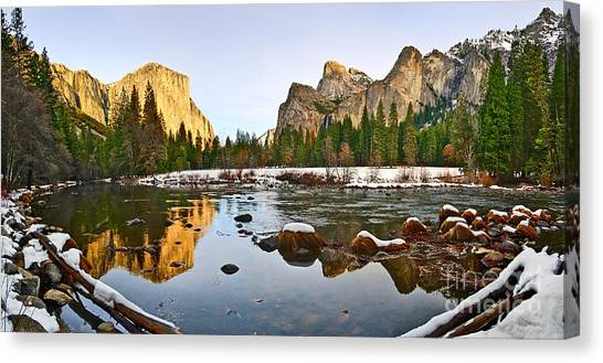 Foggy Forests Canvas Print - Vally View Panorama - Yosemite Valley. by Jamie Pham