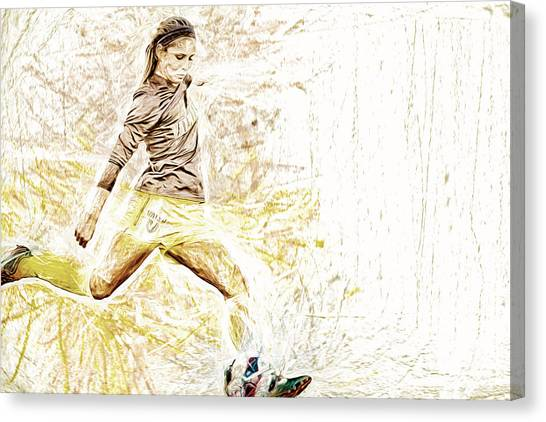 Indiana University Iu Canvas Print - Valparaiso Soccer Sydney Rumple Painted Digitally Etc by David Haskett II