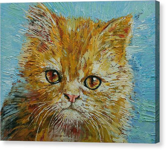 Orange Tabby Canvas Print - Van Gogh The Kitten by Michael Creese