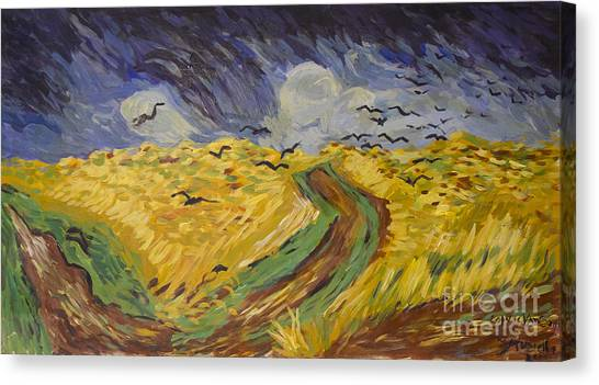 Van Gogh Wheat Field With Crows Copy Canvas Print